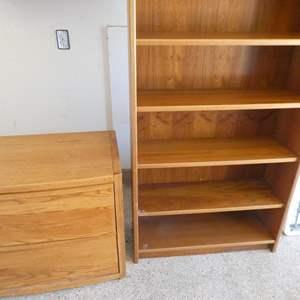 Lot # 119 - Wooden Bookshelf & Wooden File Cabinet