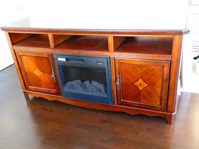 Lot #20 - Buffet table with electric fireplace (main image)
