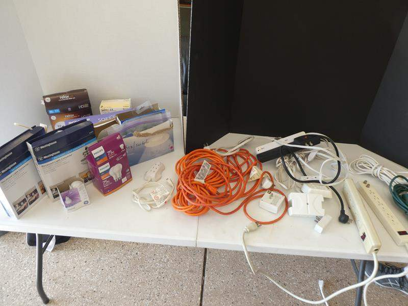 Lot # 138 - Electrical cords and light bulbs (main image)