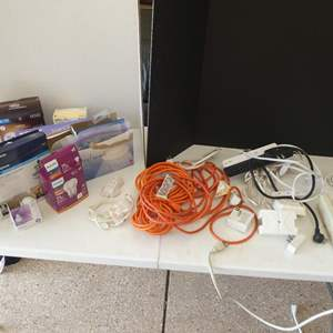 Lot # 138 - Electrical cords and light bulbs