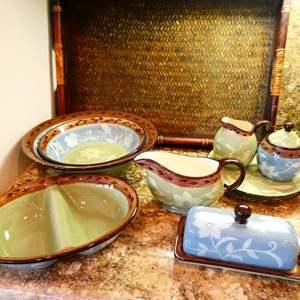 Lot #35- Gorgeous Mikasa Stoneware, Patio Garden Dish Set