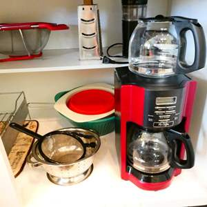 Lot # 36- Assorted Kitchen Supplies, including Mr. Coffee Maker