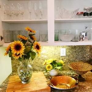 Lot #37-  Glassware, heavy duty butcher block  and fun kitchen decor!