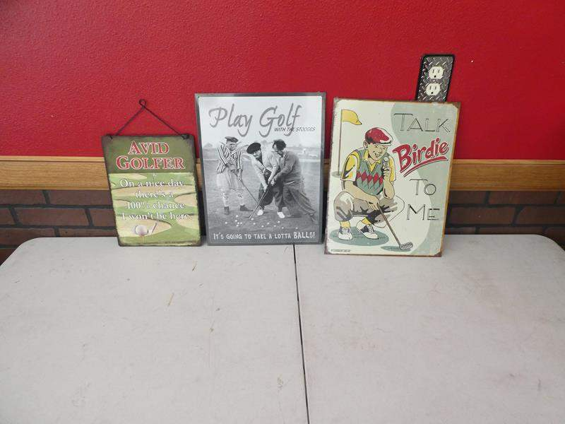 Lot # 149- Decorative, funny metal golf signs (main image)
