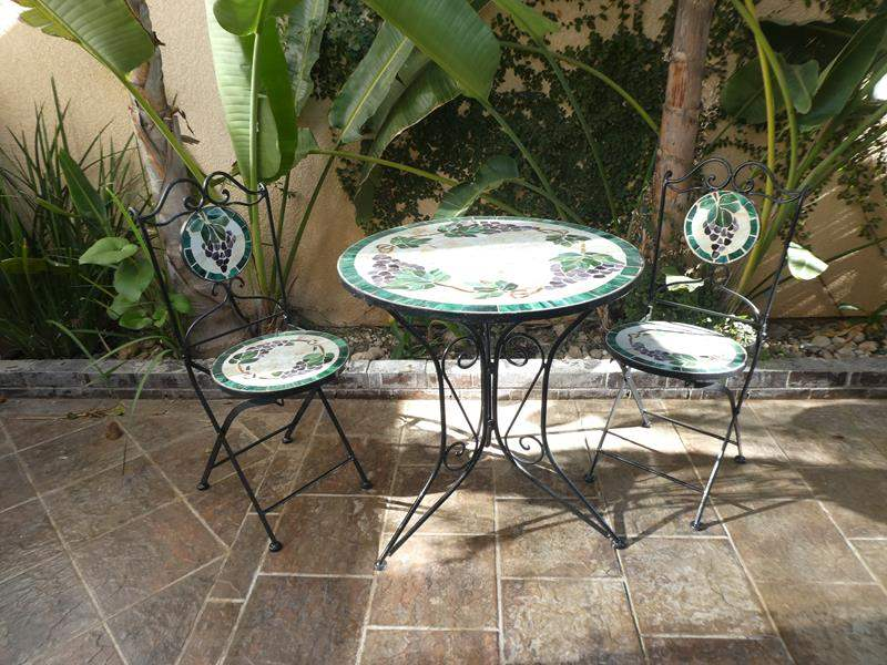 Lot # 157- Bistro style patio furniture, beautiful tile top! (main image)