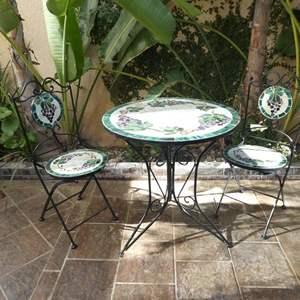 Lot # 157- Bistro style patio furniture, beautiful tile top!