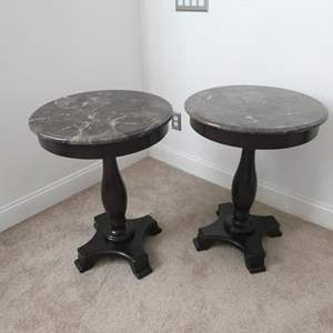 Lot # 161- Marble and solid heavy wood accent tables- Excellent condition!