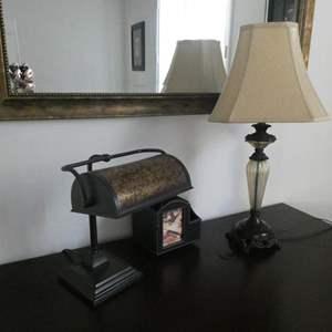 Lot # 166 - Miscellaneous furniture- Lamps, mirror, etc.
