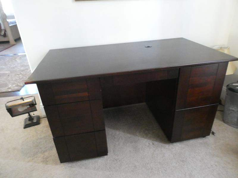 Lot # 167 - Beautiful solid cherry wood office desk with chair- see all pictures (main image)
