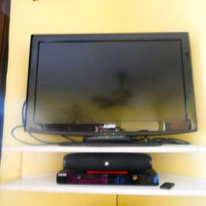 Auction Thumbnail for: Lot # 57 -32 inch Sanyo TV with UBL speaker, & Samsung DVD player, tested