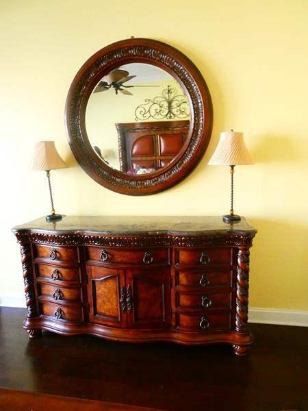 Lot # 58 -Beautiful Dresser, Mirror, and lamps! (main image)