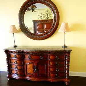 Lot # 58 -Beautiful Dresser, Mirror, and lamps!