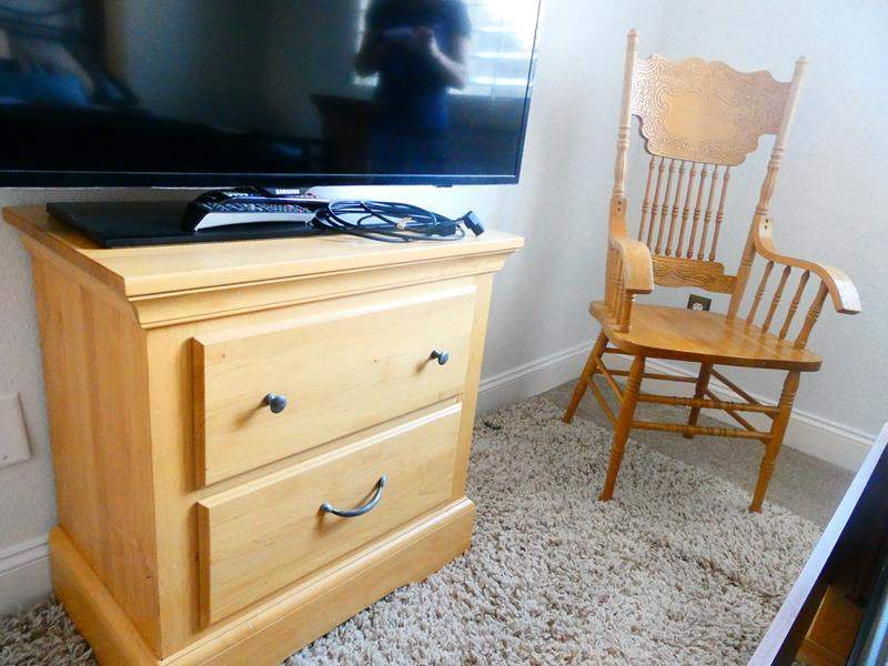 Lot # 66 -Wooden detail chair with Night stand (main image)