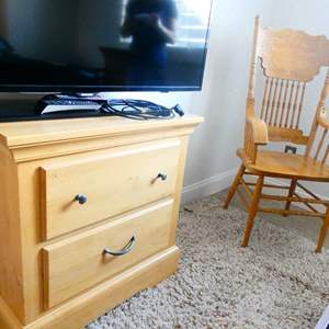 Lot # 66 -Wooden detail chair with Night stand