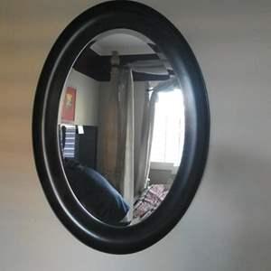 Lot # 177 - Black wood oval mirror