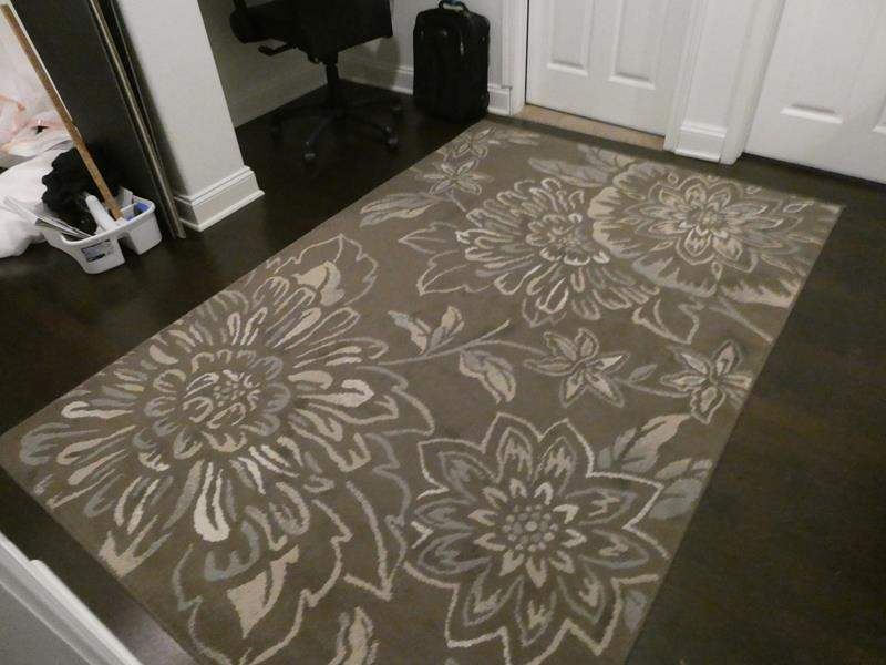"""Lot # 183 - Grey and white area rug- 93"""" by 63"""" (main image)"""