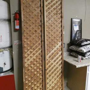 Lot # 184 - Two wooden divider/ fence extenders/ lattice