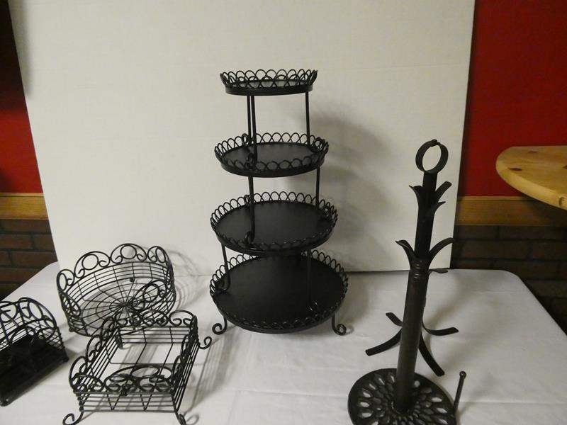 Lot # 185 - Perfect lot for entertaining your friends! Tiered platter (cupcakes) utensil, plate, napkin caddy and more (main image)