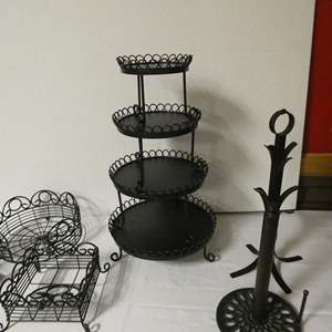 Lot # 185 - Perfect lot for entertaining your friends! Tiered platter (cupcakes) utensil, plate, napkin caddy and more