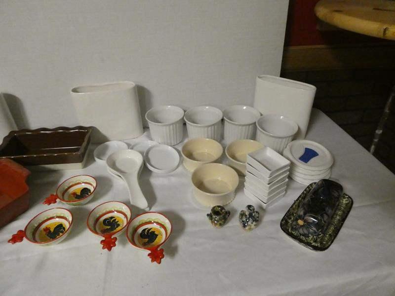 "Lot # 188 - Miscellaneous ceramic dishware. Some from Pier 1, World Market, ""Orvieto Fatto A Mano"", and corning ware (main image)"