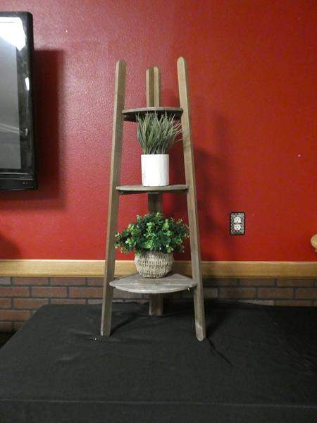 Lot # 192 - Wood corner display table- contents not included (main image)