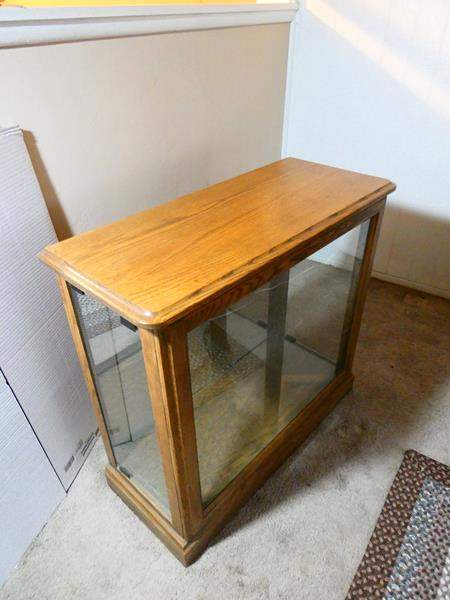 Lot # 7- Wooden bookcase and display case- Contents not included (main image)