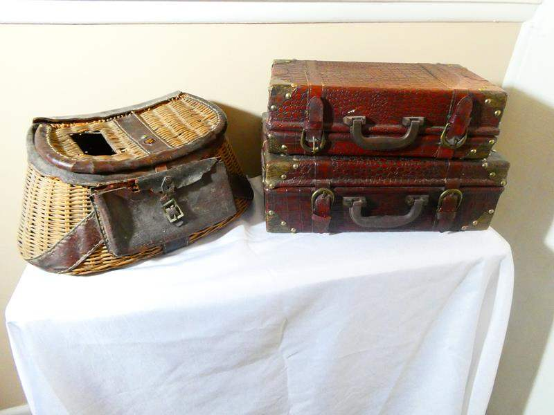 Lot # 8- Gorgeous vintage suitcases and a fishing creel basket (main image)