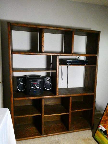 Lot # 116 Large Oak Books Shelf with RCA stereo  (main image)