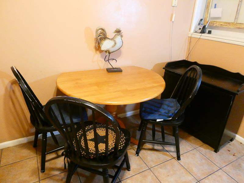 Lot # 17- Country style kitchen table, 4 chairs, buffet cabinet, and more! (main image)
