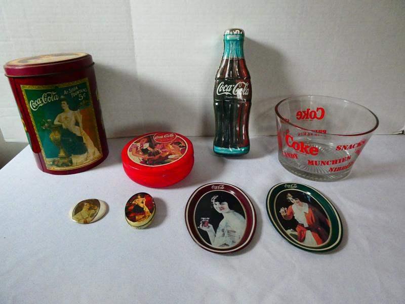 Lot # 132 Coca-Cola Tins, Tray, and Snack Bowl (main image)