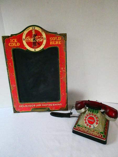 Lot # 133 Coca-Cola Chalkboard Clock and Phone (main image)