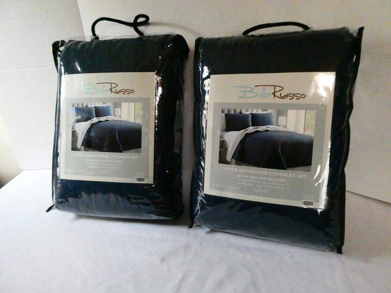 Lot # 137 2 Bella Russo 3pc Queen Coverlet sets! (NEW) (main image)