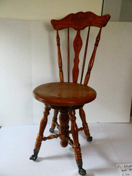 Lot # 143 Antique Wooden Swivel Chair! (main image)