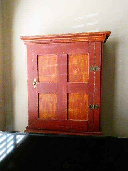 Lot # 157-Rustic red décor- Hanging cabinet and two stylish shelves (main image)