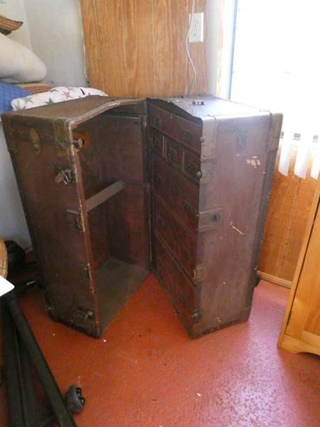 Lot # 44- Large antique wardrobe trunk (main image)