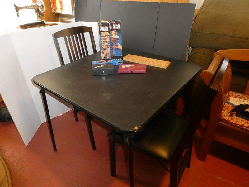 Lot # 50- Complete game night setup-Card table and more! (main image)