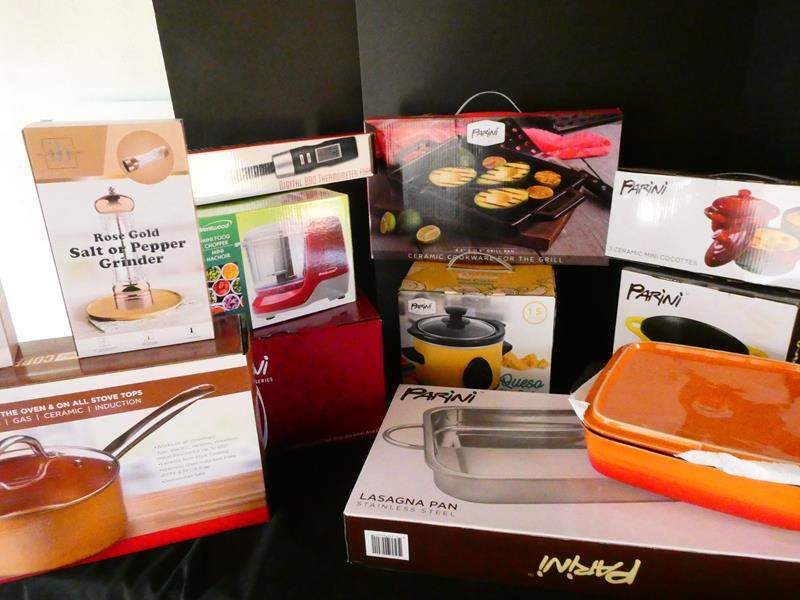 Lot # 173-YES! Copper skillets and more kitchen and cooking supplies- new in box (main image)