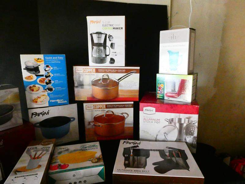 Lot # 177- Kitchen cooking and preparing items- so many! Copper, coffee maker and more (main image)