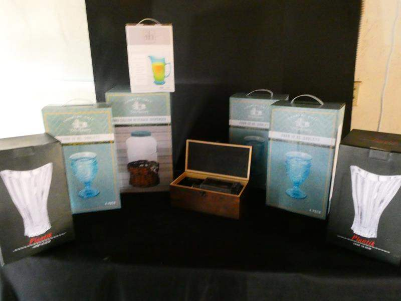Lot # 181- Cute, color coordinated pitcher, water dispenser, goblet's and more (main image)