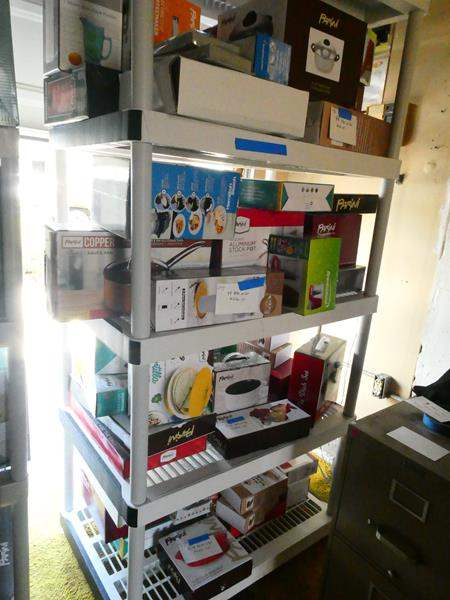 Lot # 187- Three Heavy duty plastic storage shelving- contents not included (main image)