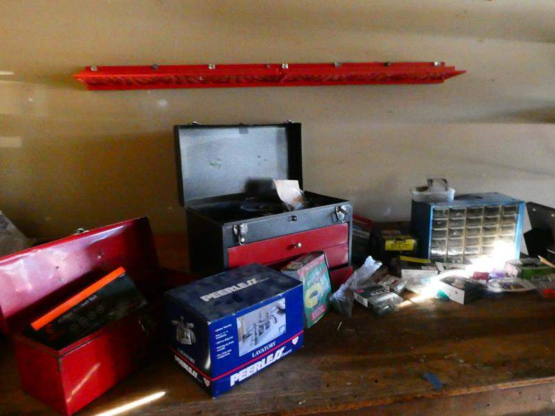 Lot # 188-Lots of tools, nuts, bolts, nails, faucet, tool box and so many bonuses (main image)