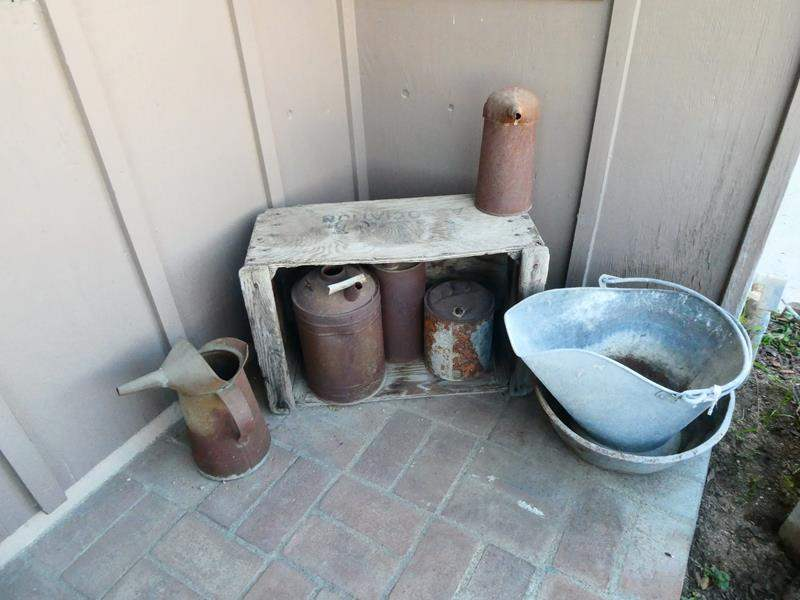 Lot # 198- Cute, vintage, rustic outdoor décor with outdoor bench (main image)