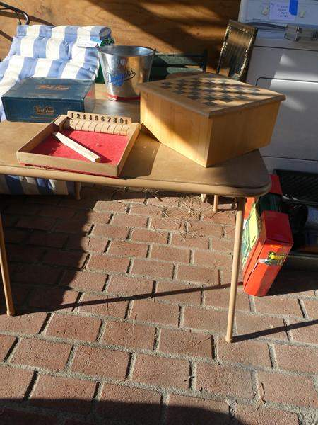 Lot # 95- Game table with extras! (main image)