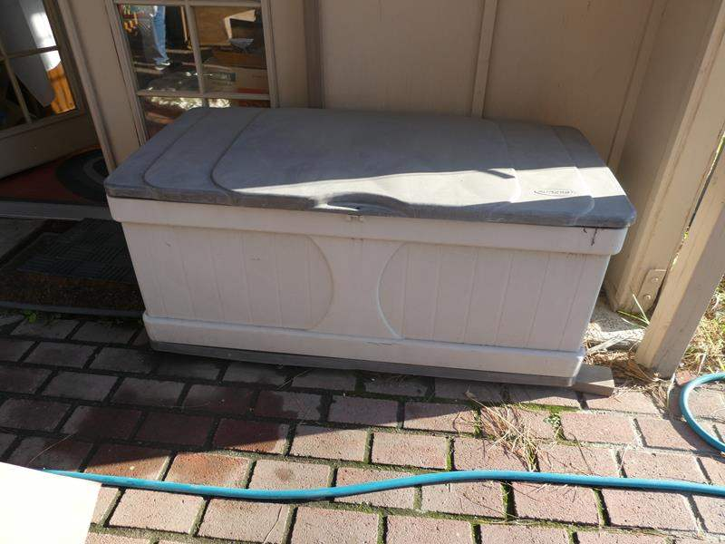 Lot # 98- Suncast outdoor storage box + extras (main image)