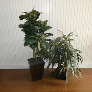 Lot # 52- Set of 2 Artificial Potted Trees