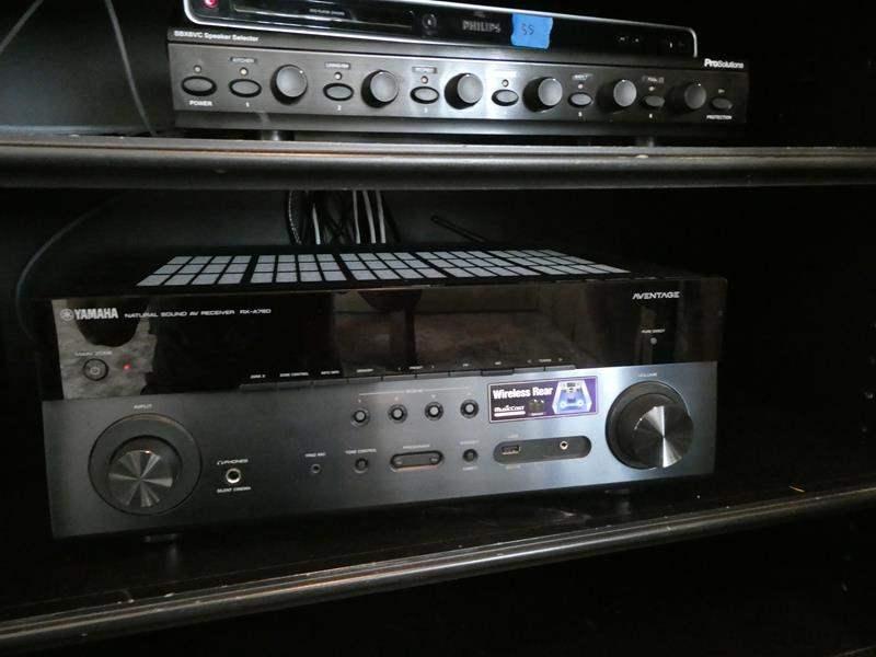 Lot # 57- Yamaha AV sound receiver, speaker system and subwoofer (main image)