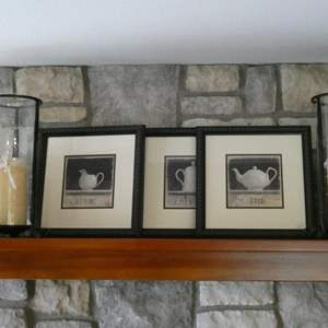 Lot # 62- 3 Piece Framed Pictures with 2 Candles
