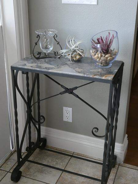 Lot # 66-  Wrought Iron, Marble Top Accent Table (main image)