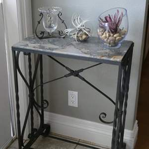 Lot # 66-  Wrought Iron, Marble Top Accent Table