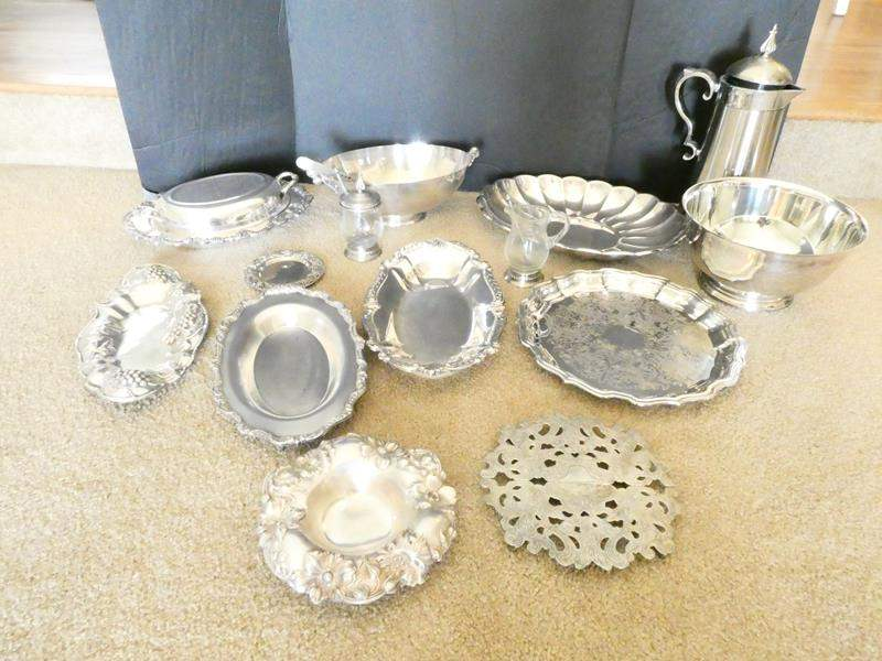 Lot # 16- Platters, bowls, etc. Some silver plated! (main image)